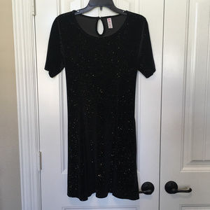 Justice Short Sleeve Black Velvet Sparkle Dress